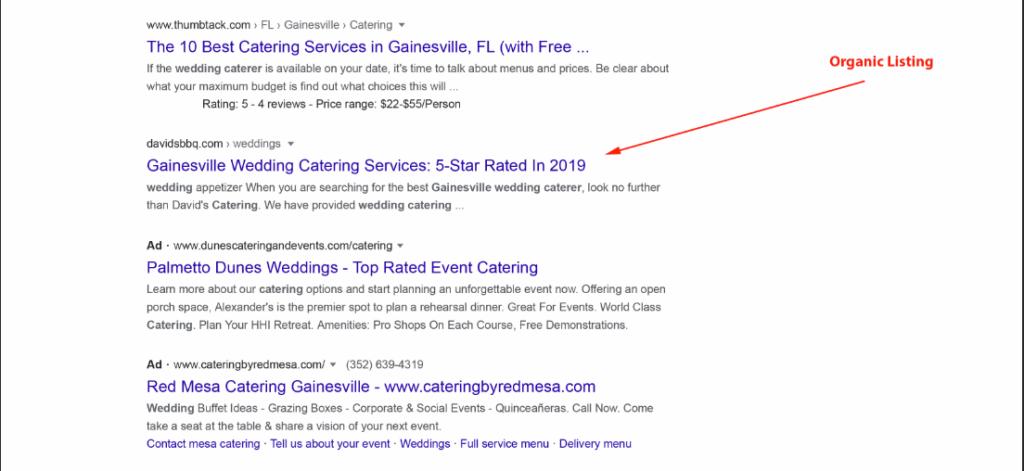 organic listing